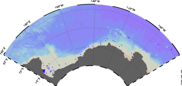 CICLOPS cruise track. Dark blue dots represent the stations that were sampled across the Amundsen and Ross Sea, Antarctica - Image via Ocean Data View.